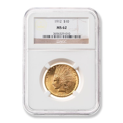 1912 Graded $10 Indian Head Gold Coin