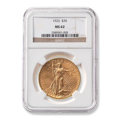 1923 Graded $20 Saint-Gaudens Gold Coin