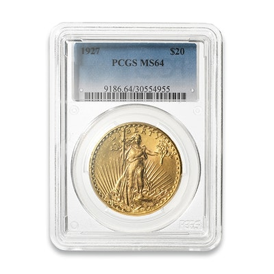 1927 Graded $20 Saint-Gaudens Gold Coin