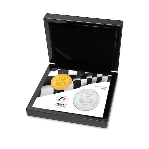 formula 1 gold silver coin box