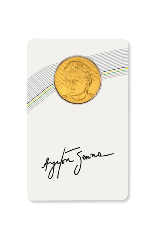 Ayrton Senna gold coin card front