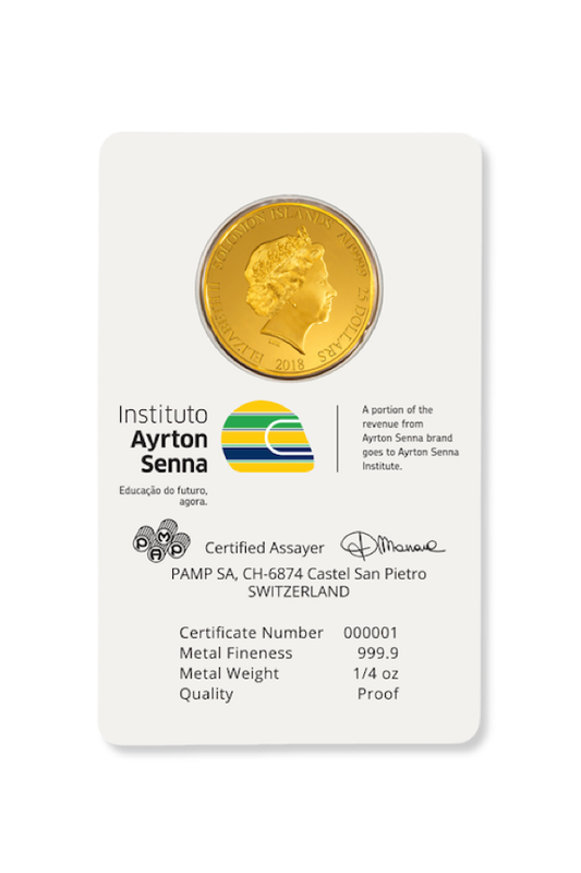 Ayrton Senna gold coin card back