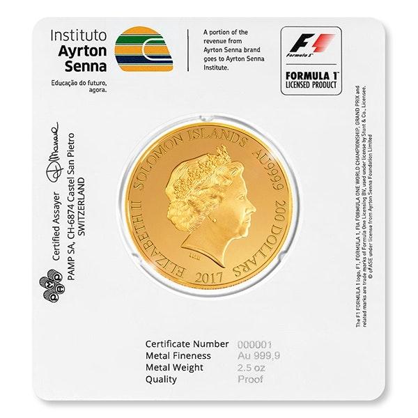 ayrton senna gold coin back