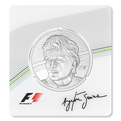 Ayrton Senna Silver Packaging Coin Front