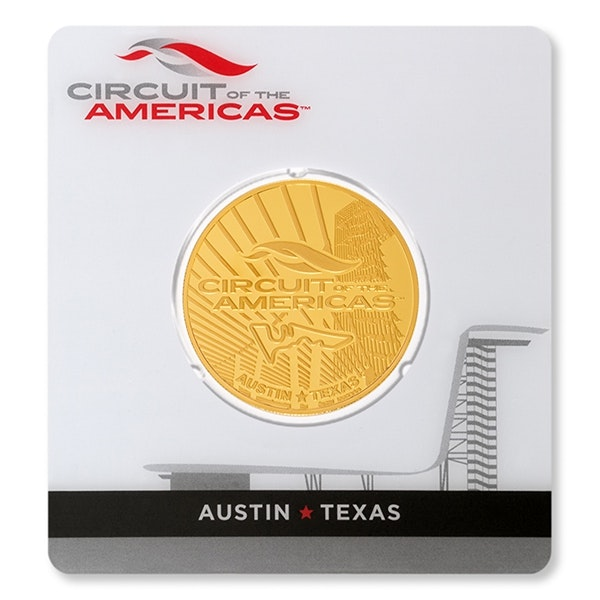 Circuit of the americas packaging gold coin front