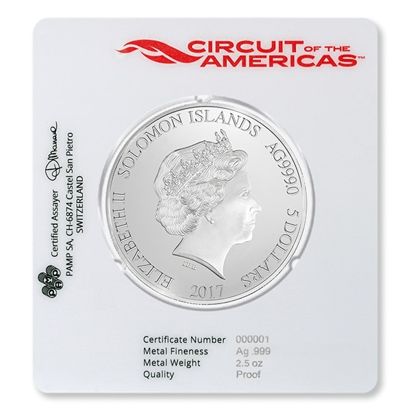 circuit of the americas silver packaging coin back