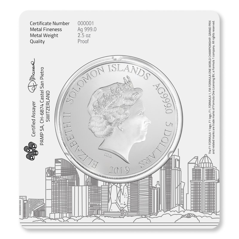 F1<sup>®</sup>  1000 2.5 oz Silver Coin