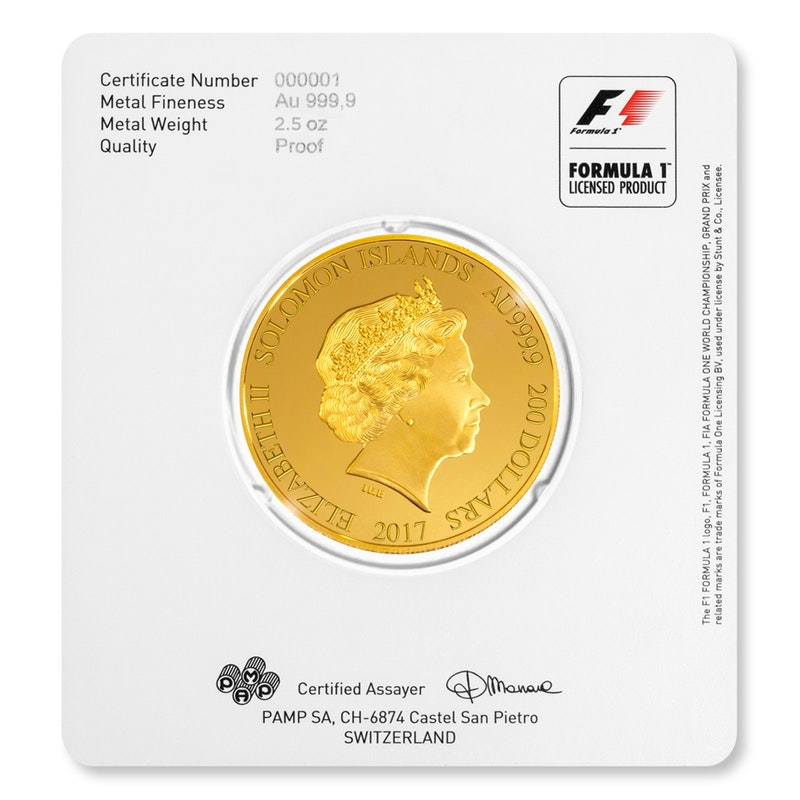 Formula 1 gold Packaging Coin back
