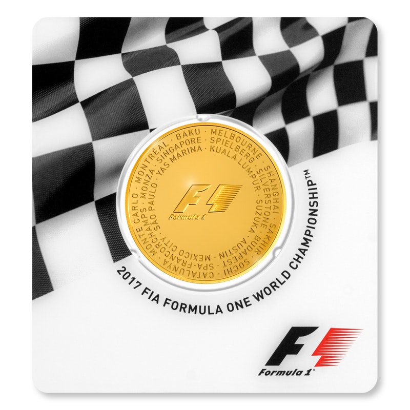 Formula 1 gold packaging Coin Front