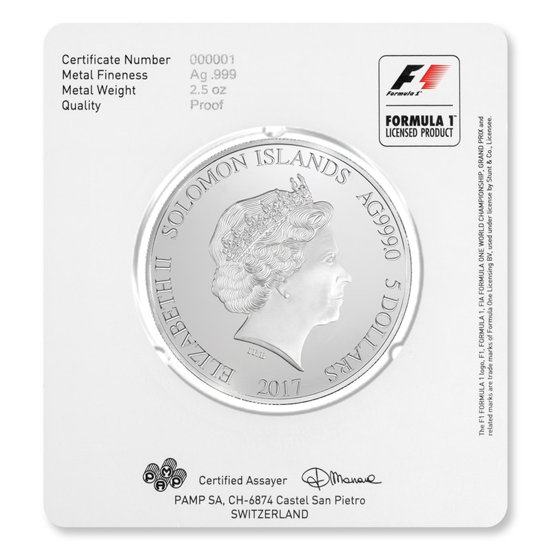 Formula 1 Silver Coin Packaging back