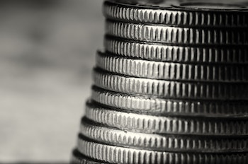 Grey Coins Stacked